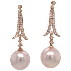 South Sea Diamond Drop Earrings 0.60 Carat 18 Karat Yellow Gold