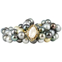 South Sea Double Strand Multi-Color Pearls with Pearl & Diamond Clasp, 14 Karat