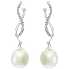 South Sea Drop Cultured Pearl and Diamond 14 Karat White Gold Earrings
