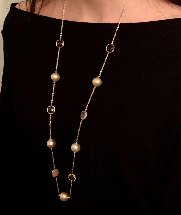"""Certificate #-820708 CERTIFIED $2,970 Hi Fashion Fine Quality South Sea Large 14.5-14.6 MM AND QUARTZ 35.5 INCH NECKLACE MADE WITH SOLID 14 KT SOLID GOLD  This is a One of a Kind Unique Custom Made Glamorous Piece of Jewelry!! Nothing says, """"I Love"""