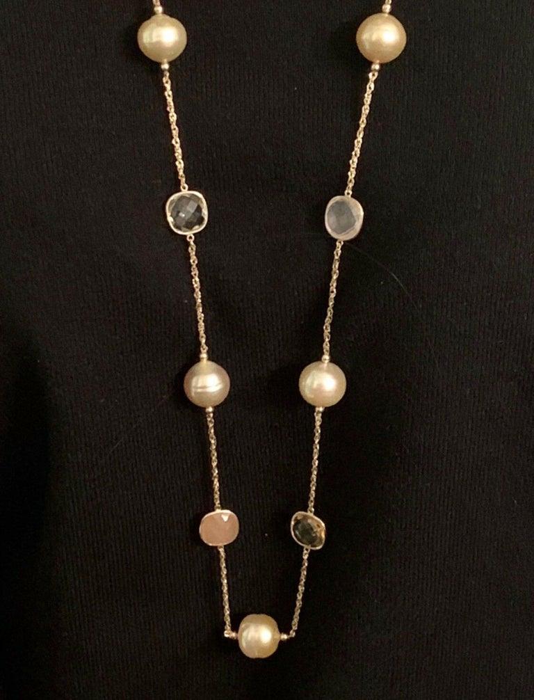 Modern South Sea Gold Pearl Quartz Necklace 14 Karat Gold Certified For Sale