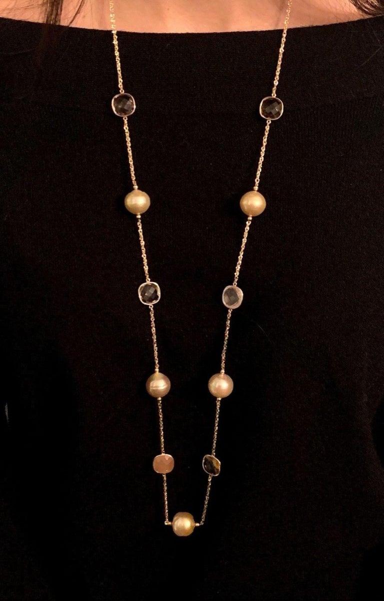 Round Cut South Sea Gold Pearl Quartz Necklace 14 Karat Gold Certified For Sale