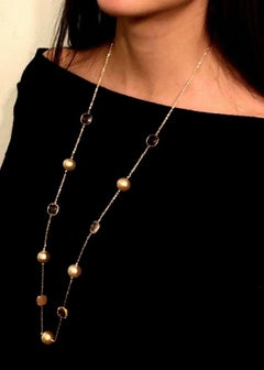 South Sea Gold Pearl Quartz Necklace 14 Karat Gold Certified