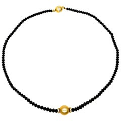 South Sea Gold Pearl with 36 Carat of Black Diamonds Necklace
