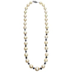 South Sea Gold Pearls and Black Diamond Beads Necklace