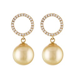 South Sea Golden Cultured Pearl and Diamond Dangle Halo Earrings