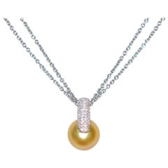 South Sea Golden Pearl and White Diamonds Gold 18 Karat Chain Pendant Necklace