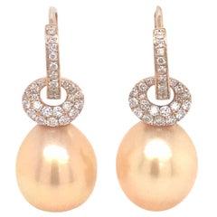 South Sea Golden Pearl Diamond Drop Earrings 0.57 Carat 18 Karat Yellow Gold