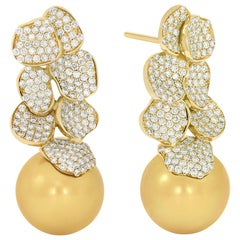 Rosior South Sea Golden Pearl and Diamond Drop Earrings