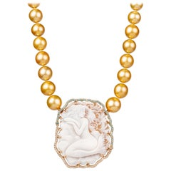 South Sea Golden Pearl Necklace with Mermaid Cameo Clasp and Brooch