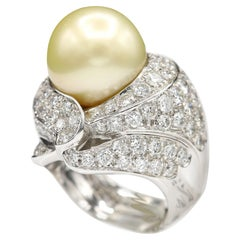 South Sea Golden/Yellow Pearl and Diamond Ring Pearl Large Cocktail Ring