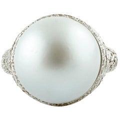 South Sea Grey Big Pearl, Diamonds, 14 Karat White Gold Dome Ring