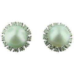 South Sea Mabe Pearl and Diamond Earrings