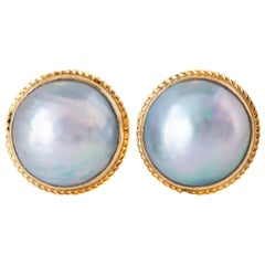 South Sea Mabe Pearl Clip on Earrings