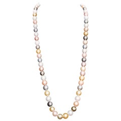 South Sea Multi-Color Pearl Necklace with Diamond Clasp