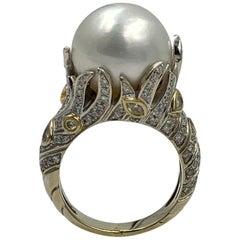 South Sea Pearl 130 Fancy Yellow Diamond White Diamond Ring 18 Karat Gold