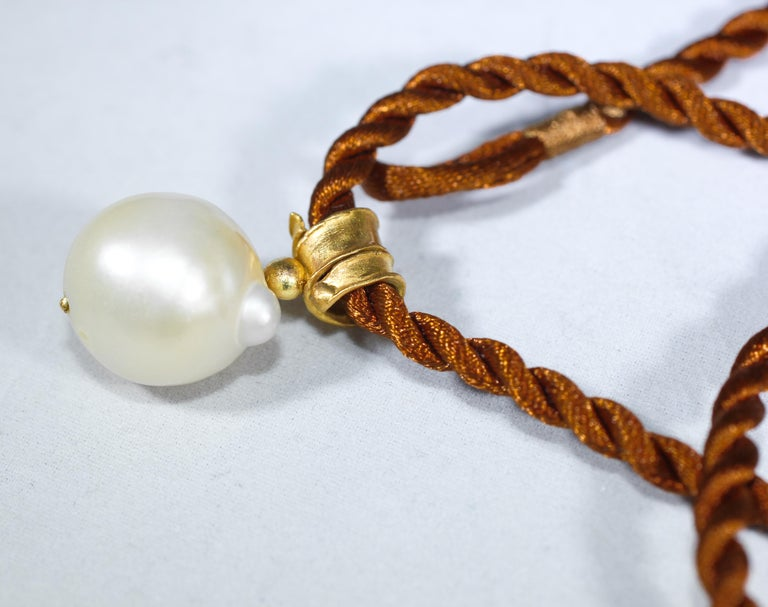 Modern South Sea Pearl 22 Karat Gold Pendant Organic Handmade Designer Choker Necklace For Sale