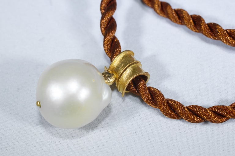 Round Cut South Sea Pearl 22 Karat Gold Pendant Organic Handmade Designer Choker Necklace For Sale
