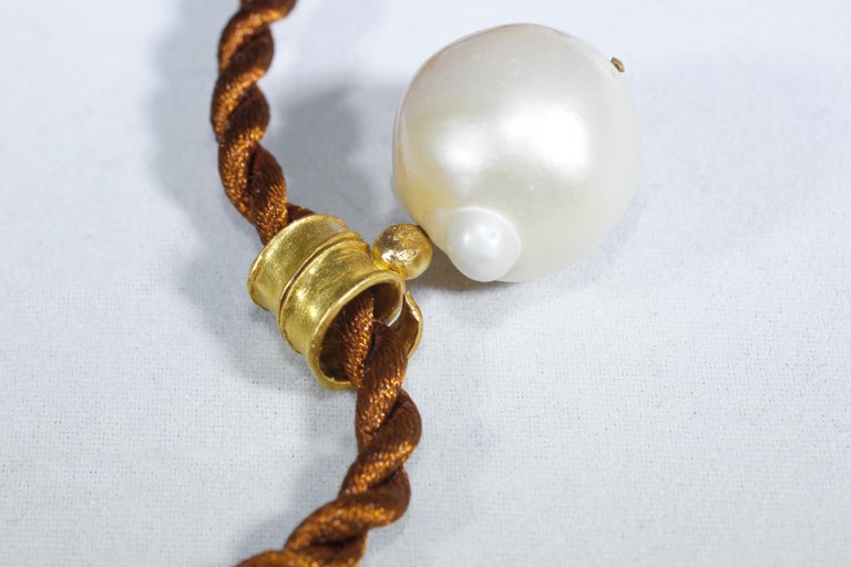 South Sea Pearl 22 Karat Gold Pendant Organic Handmade Designer Choker Necklace In New Condition For Sale In New York, NY
