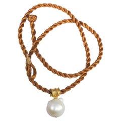 South Sea Pearl 22 Karat Gold Pendant Organic Handmade Designer Choker Necklace