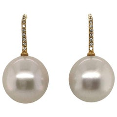 South Sea Pearl and 18 Karat Yellow Gold Diamond Set Hook Drop Earrings