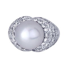 South Sea Pearl and 2 Carat Diamond White Gold Ring