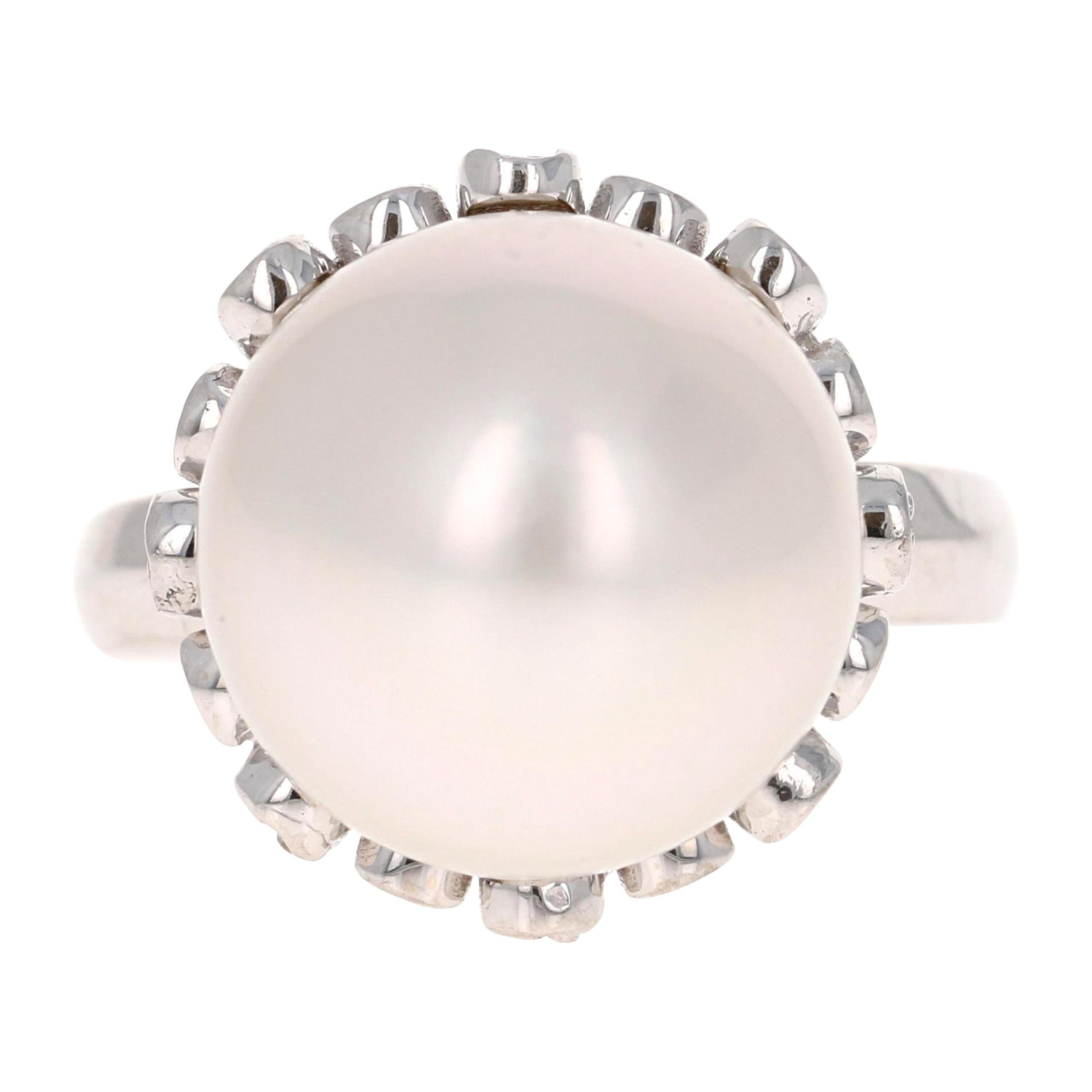South Sea Pearl and Diamond 14 Karat White Gold Cocktail Ring