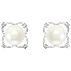 South Sea Cultured Pearl and Diamond 14 Karat White Gold Floral Earrings