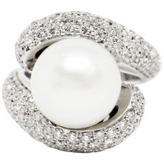 South Sea Pearl and Diamond 18 Carat White Gold Cocktail Ring