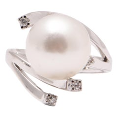 South Sea Pearl and Diamond Abstract Cocktail Ring in 18 Carat White Gold