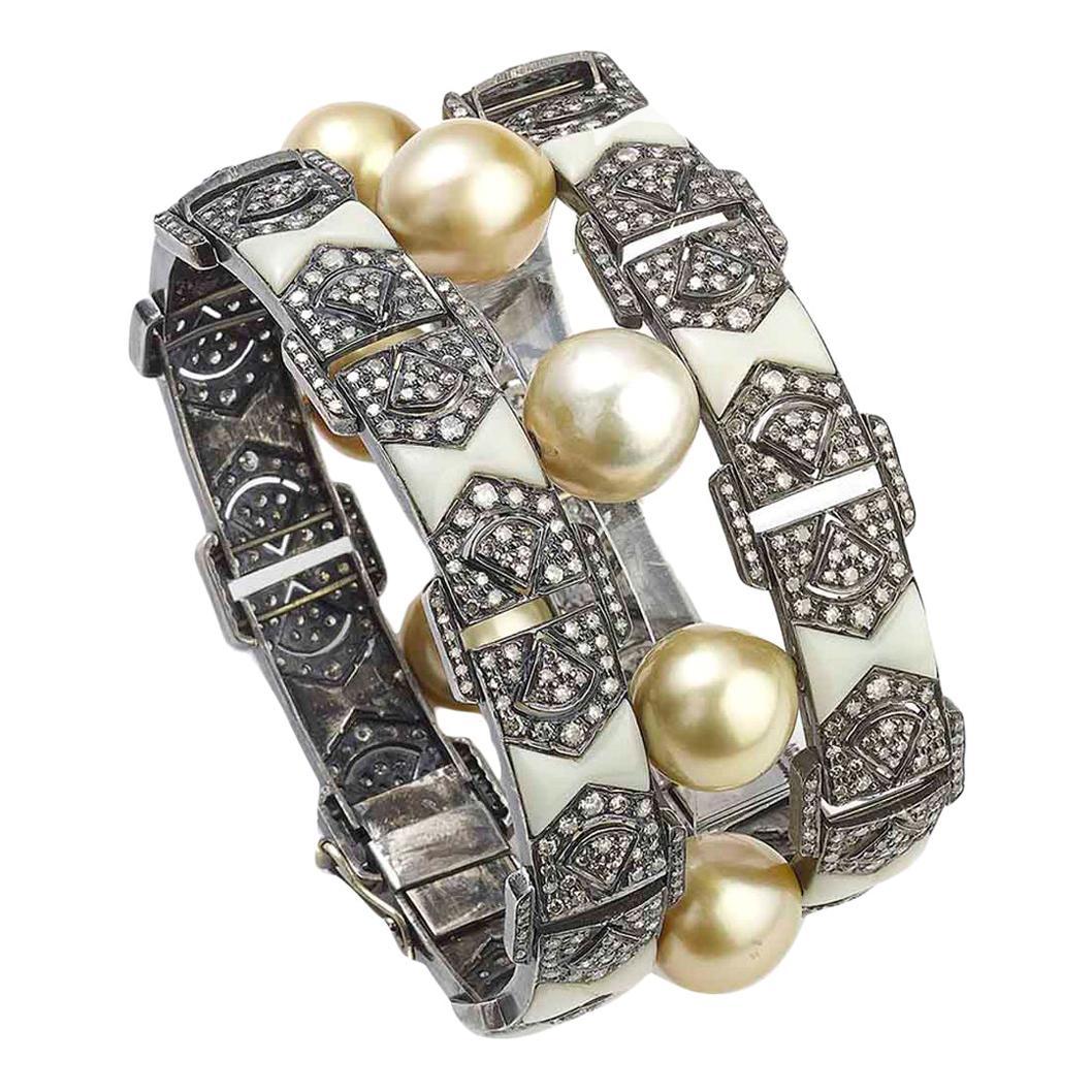 South Sea Pearl and Diamond Bakelite Bracelet