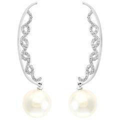 South Sea Cultured Pearl and Diamond Crescent Earrings 14 Karat White Gold