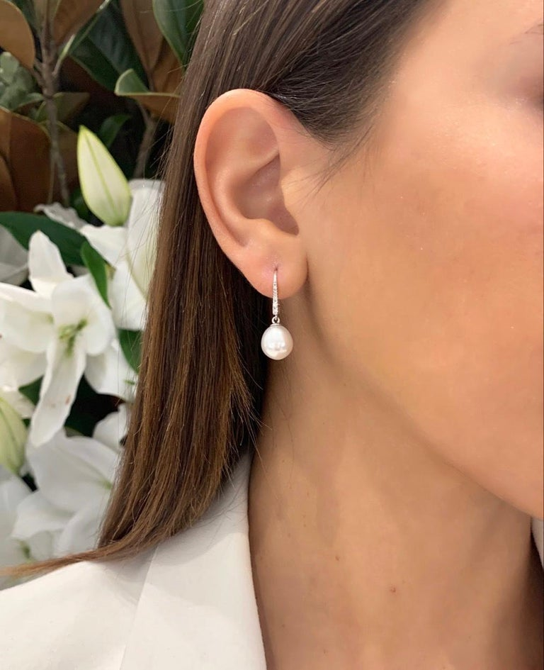 Round Cut South Sea Pearl and Diamond Dangle Earrings For Sale