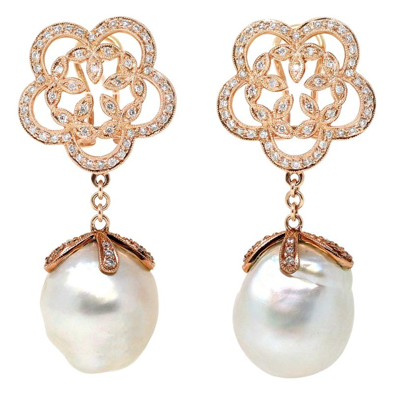 South Sea Pearl and Diamond Dangling Earrings in 18 Karat Rose Gold