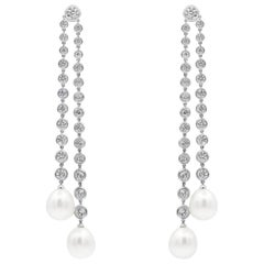 Ivanka Trump, South Sea Pearl and Diamond Diamonds by The Yard Dangle Earrings