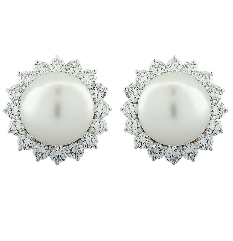 Modern South Sea Pearl and Diamond Earrings For Sale