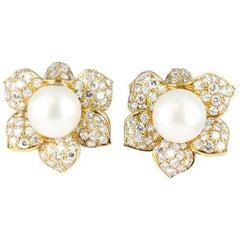 South Sea Pearl and Diamond Earrings Set in 18 Karat Yellow Gold