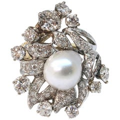 South Sea Pearl and Diamond Gold Cocktail Ring