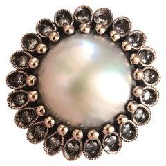 South Sea Pearl and Diamond Ring, Black Rhodium, Rose Gold, Ben Dannie
