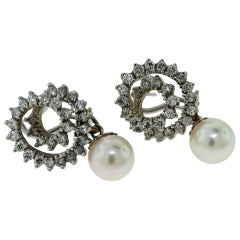 South Sea Pearl and Diamond Swirl Drop Earrings