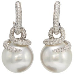 South Sea Pearl Diamond Drop Earrings 1.55 Carats 18K White Gold