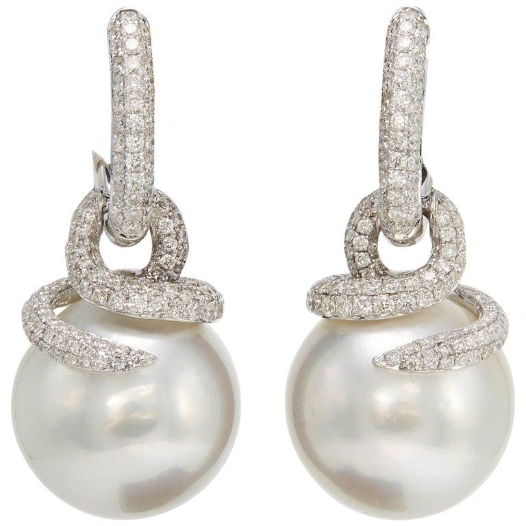 South Sea Pearl and Diamonds Dangle Earring For Sale