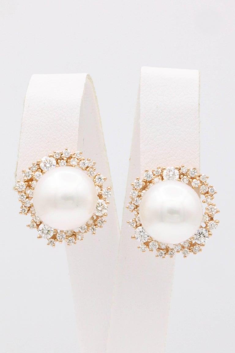 18K Rose Gold South Sea Pearl 11-12 mm Diamond: 1.30 Carats