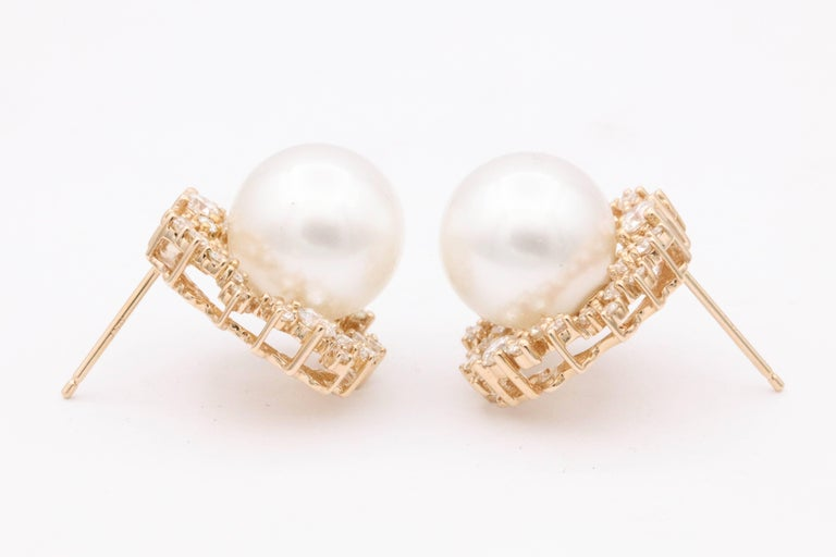 Contemporary South Sea Pearl and Diamonds with Rose Gold Studs Earrings For Sale