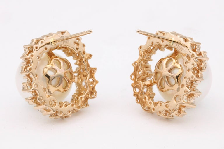 Round Cut South Sea Pearl and Diamonds with Rose Gold Studs Earrings For Sale