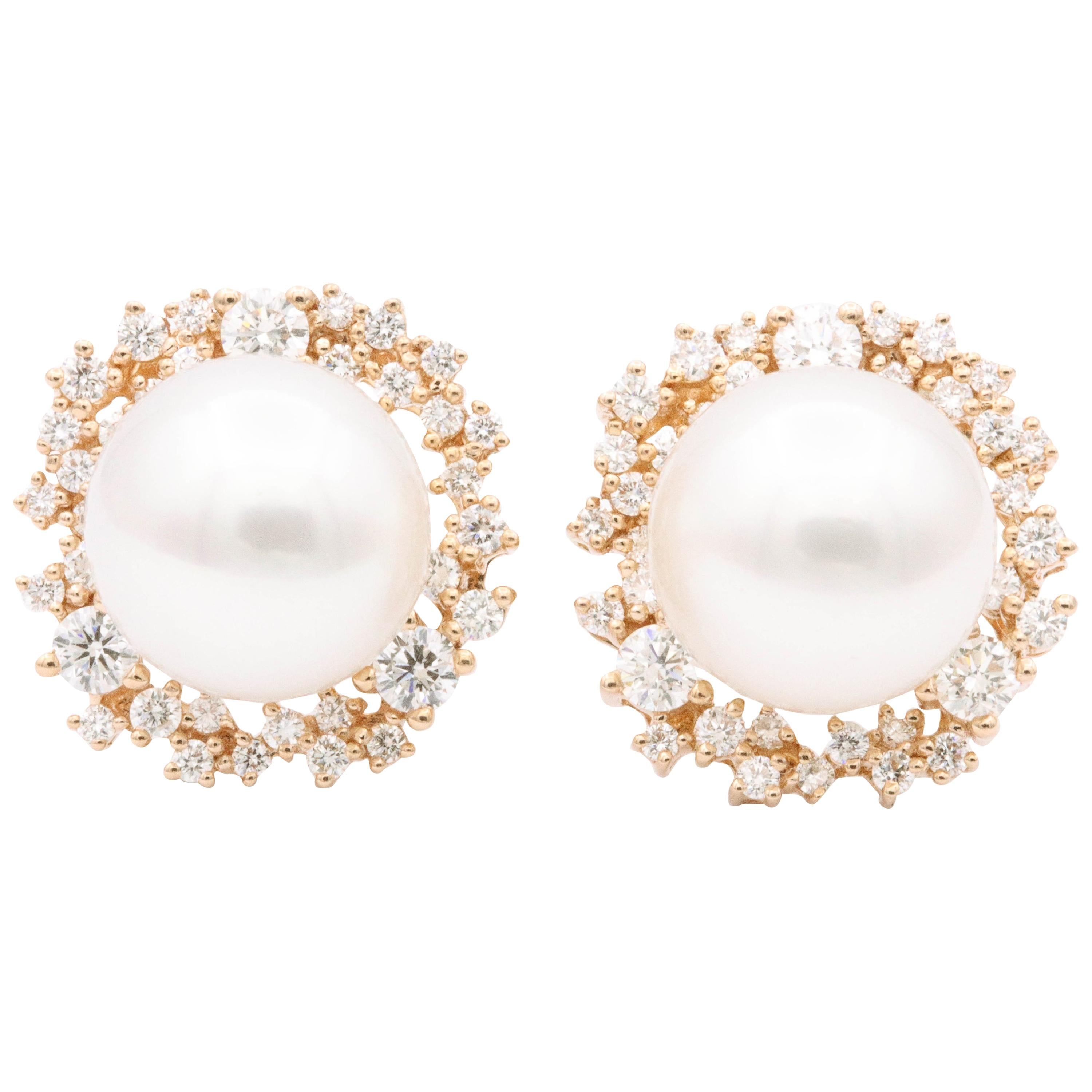 South Sea Pearl and Diamonds with Rose Gold Studs Earrings