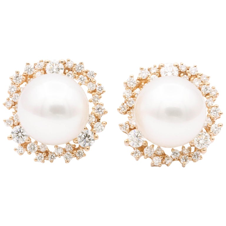 South Sea Pearl and Diamonds with Rose Gold Studs Earrings For Sale