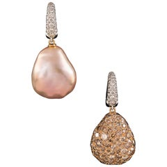 South Sea Pearl and Mirror Image with Diamonds 5.98 ct. Diamond Creoles Earrings