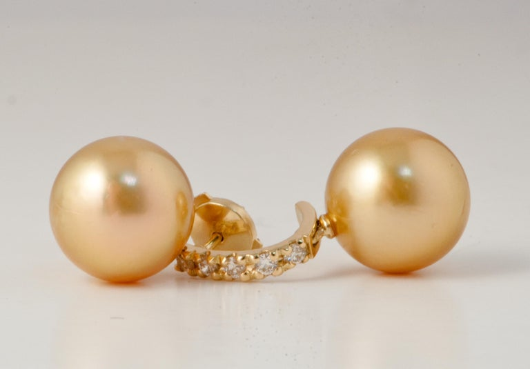South Sea Pearl and White Diamonds on Yellow Gold 18 Karat Drop Earrings For Sale 5