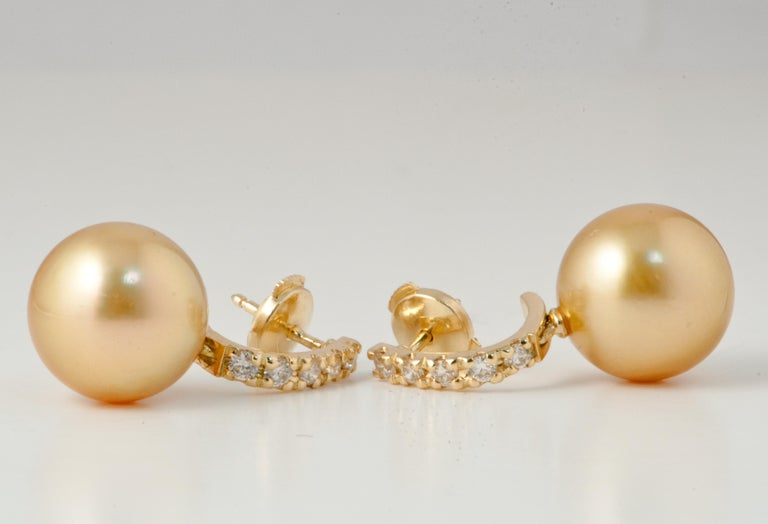 South Sea Pearl and White Diamonds on Yellow Gold 18 Karat Drop Earrings. South Sea Pearls 12/12.5 mm 10 White Diamonds Brilliant 0.37 Karat Color G Yellow Gold 18 Karat
